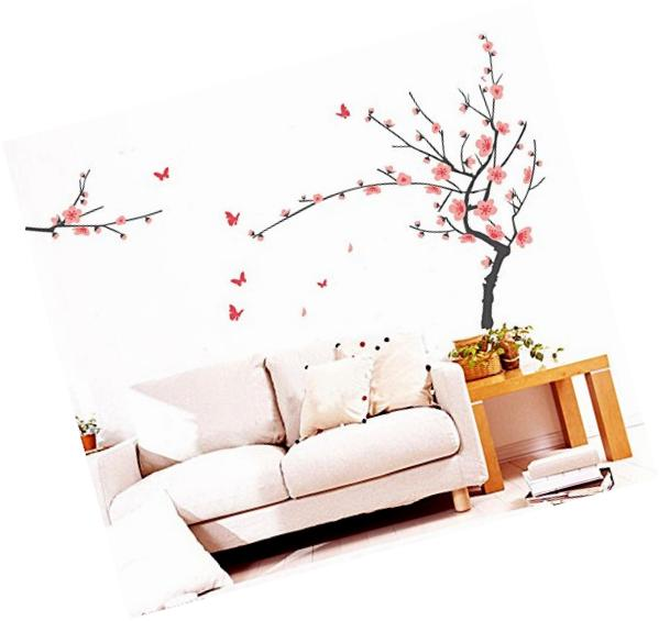 BIBITIME Pink Tree Wall Decals Sticker Lovely Butterfly Stickers