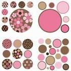 Polka Dots 42 Wall Pops Decals PINK BROWN DOT Room Decor Sti