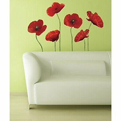 poppies flower sticker giant wall