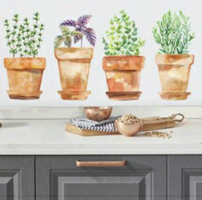 potted herbs wall stickers 4 big fern