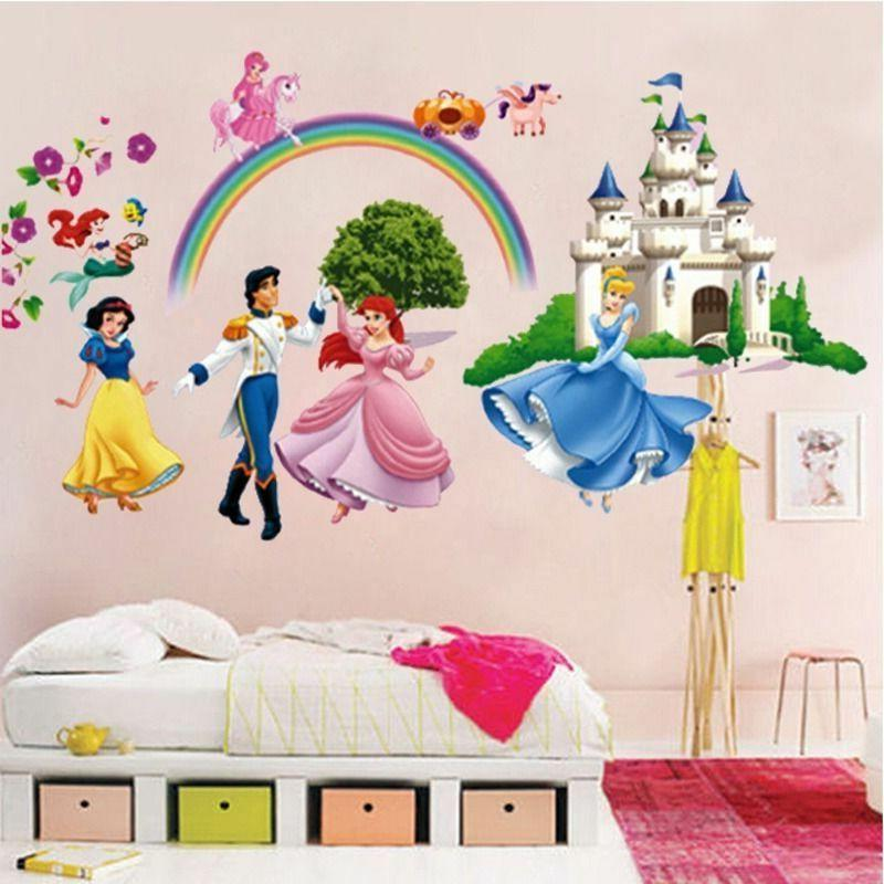 Princess Wall Stickers 3D Decals Decor For Kids Room