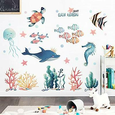 Amaonm Removable 3D DIY The Sea World Wall Decals Ocean Animals