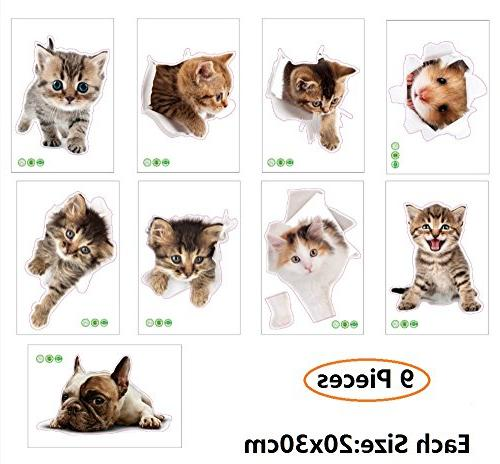 removable 3d cute animals wall