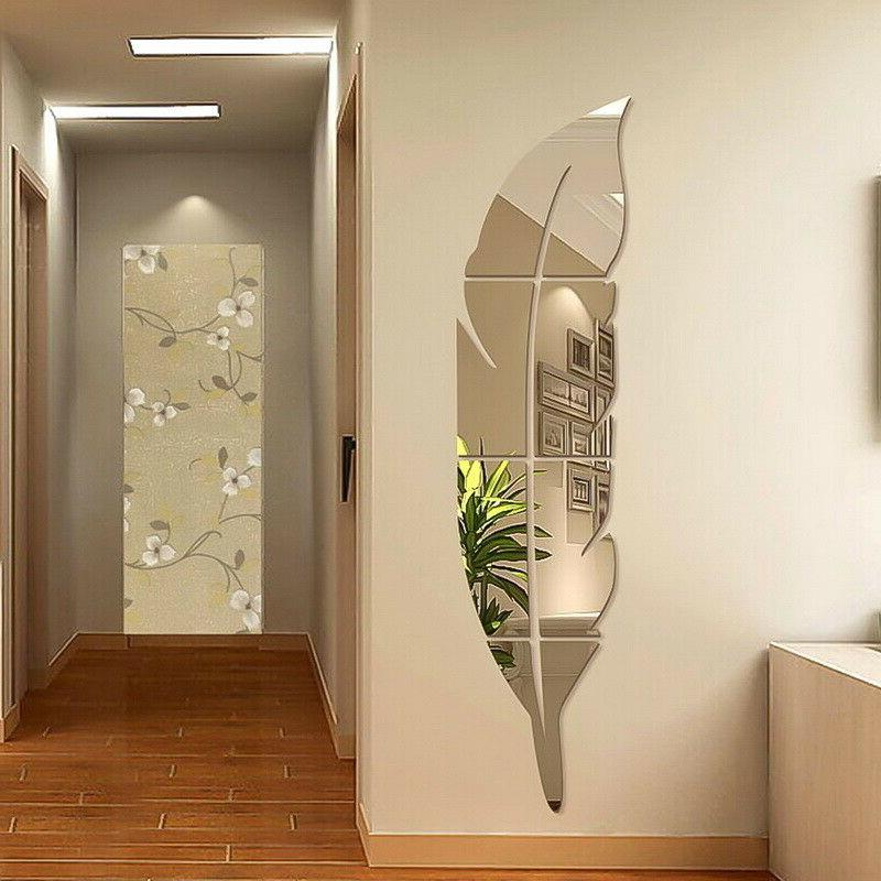 removable 3d diy feather mirror wall stickers