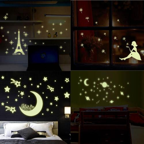 Removable Art Decals 3D Stars Glow in The Dark Vinyl Wall St