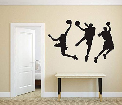 "Amaonm 31.5"" Removable Basketball Silhouette Decals Spoting Basketball Duck Layup Sporter Wall Sticker for Room"