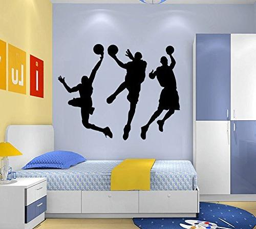 "Amaonm 31.5"" Removable DIY Three Basketball Players Dunk Silhouette Wall Sticker Room Bedroom"