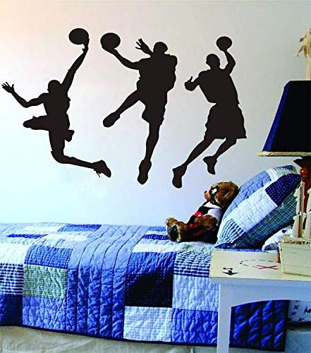 "Amaonm x 53.1"" Removable Basketball Players Slam Dunk Silhouette Basketball Sporter Wall Room Boys"