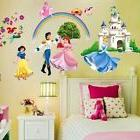 Removable Princess Castle Rainbow Wall Decal Girls Room Stic