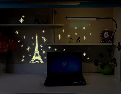 Amaonm Removable Glow in The Love Paris Wall Home Art Decor Noctilucent Wall Sticker Luminous Light Stickers Room Decorations
