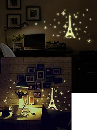 Amaonm PVC in Love Paris Eiffel Wall Decals Decor Wall Luminous Wall Stickers for Kids Room