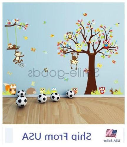 Removable Tree Owl Decals Bedroom Nursery Decor