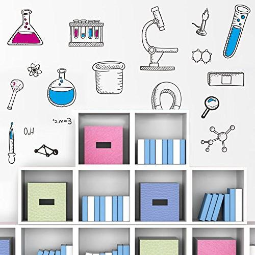 BIBITIME Science Laboratory Wall Decals Chemical Tool Classroom Children Student Study Teens Kids Room DIY Home Art Decorations