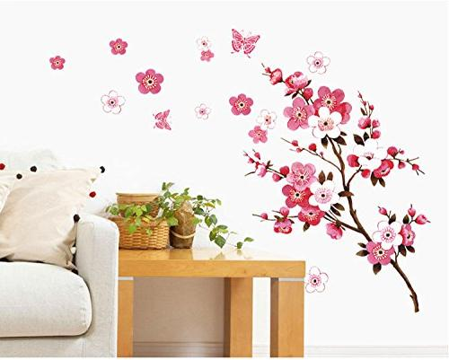 series branch pink flowers butterfly