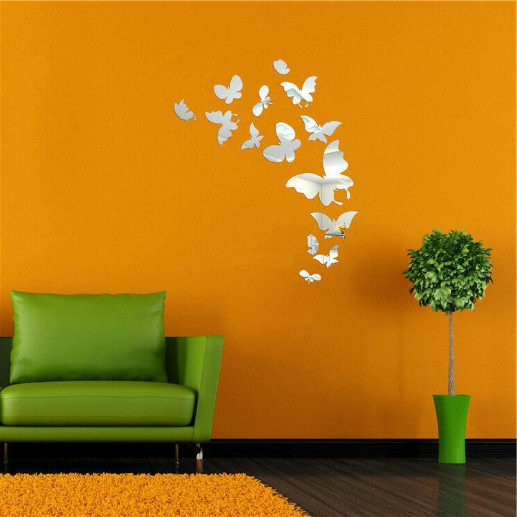 US Butterfly 3D Shiny Mirror Wall Sticker Wall Decal Removab