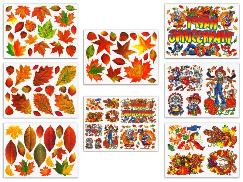 Thanksgiving Fall Leaves Window Clings Decals Decorations Ki