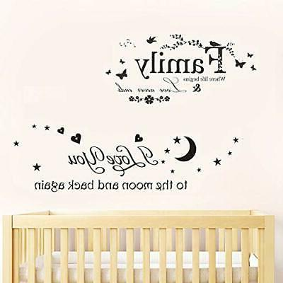 """ufengke """"Family You Wall Stickers Sayings Decals Decor"""