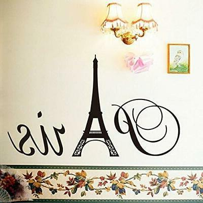 "ufengke® ""Paris"" Eiffel Wall Decals, Living Room Bedroom Removable..."