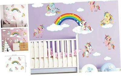 ufengke rainbow unicorn wall stickers diy cloud