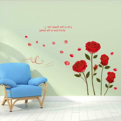 UfingoDecor Red Rose Removable Wall Stickers Murals for Living Room/Bedroom...