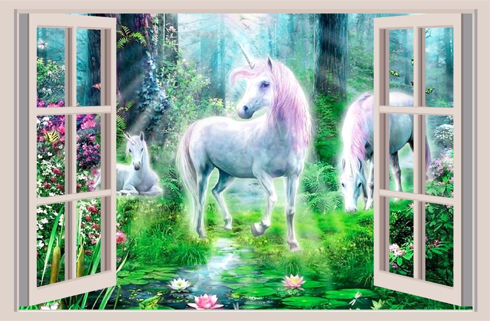 Unicorn Fantasy 3D Window View Decal WALL STICKER Art Mural
