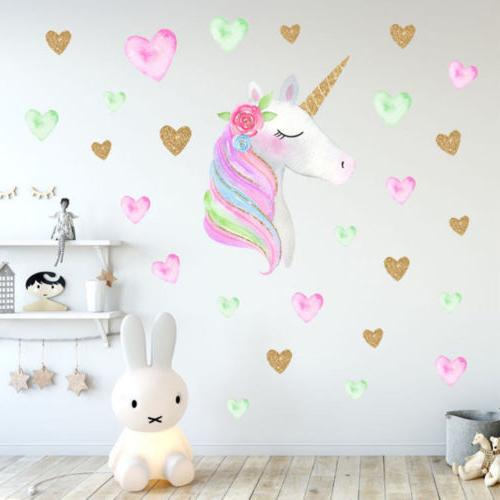 fairy unicorn star heart wall stickers removable