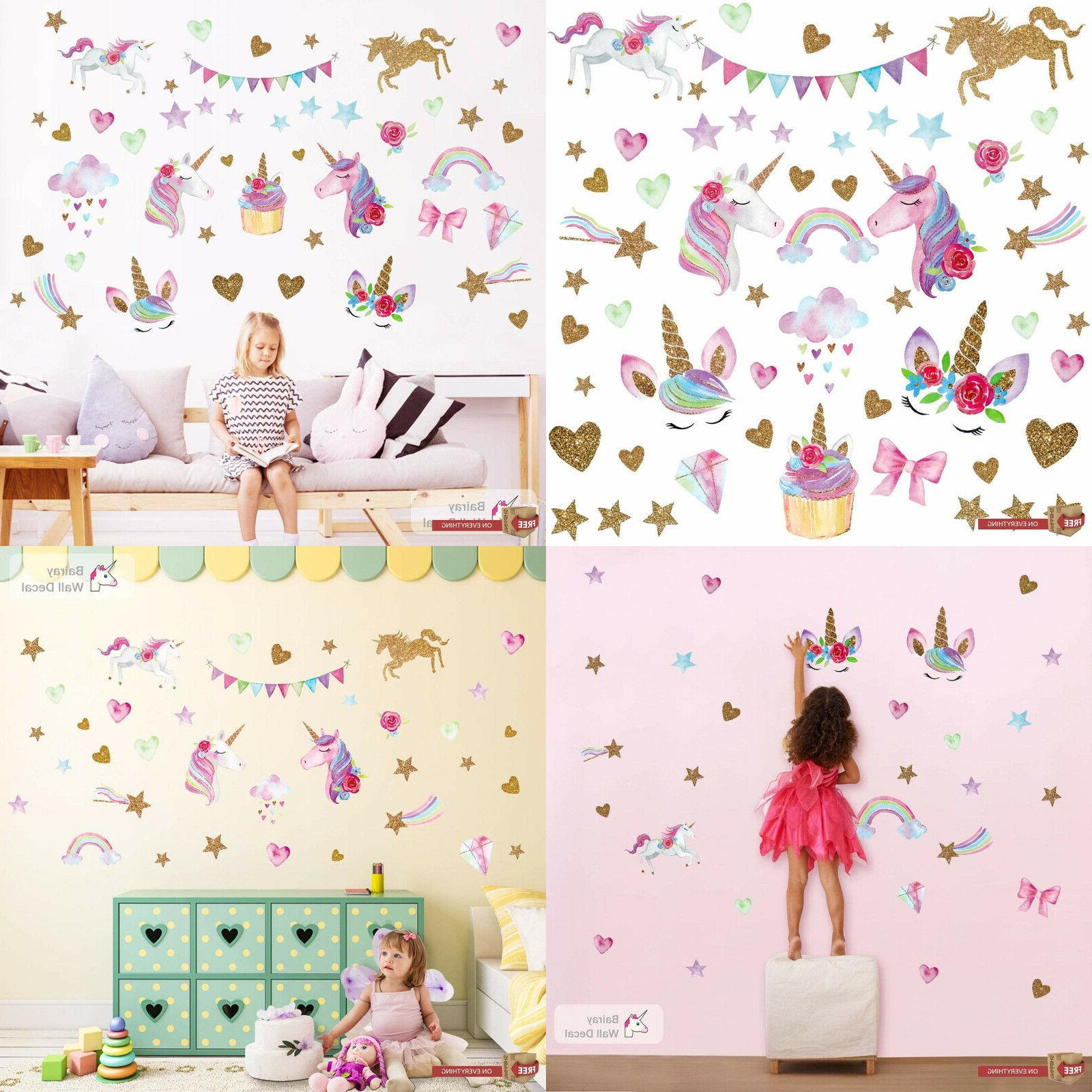 Unicorn Wall Decor Stickers Decals for Girls & Boys Kids Roo