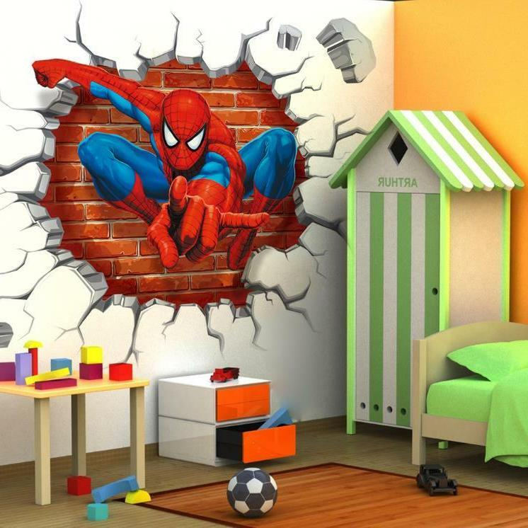 US 3D Wall stickers Superhero Kids Cartoon Decal Wallpaper