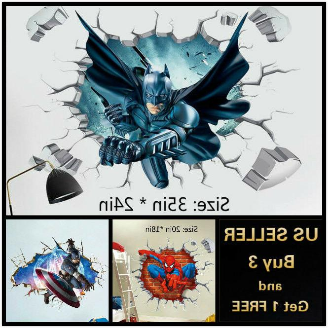us 3d wall stickers superhero kids cartoon