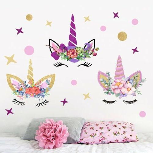 usa 3pcs fairy unicorn wall stickers stars