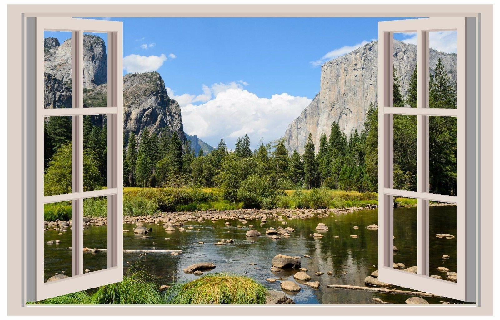 Valley View Yosemite 3D Window View Decal WALL STICKER Art M