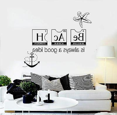 Vinyl Wall Decal Beach Style Quote Relax Marine Sea Stickers