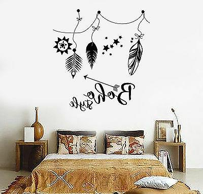 Vinyl Wall Decal Boho Style Hippie Ethnic Feathers Stickers