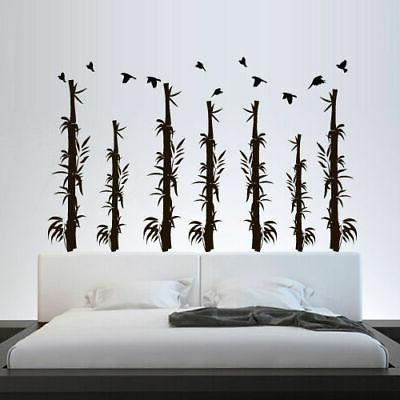 wall decal bamboo flowers tree forest plants