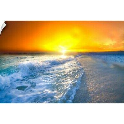 wall decal entitled red gold sunrise seascape