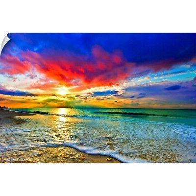 wall decal entitled red sunset green seascape