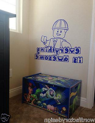Wall decal Everything is Awesome Lego Movie Quote With Emmet