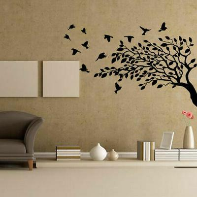 wall decal leaves plants bird flower branch