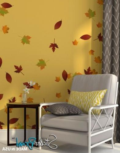 wall graphic decal autumn leaves falling ac124