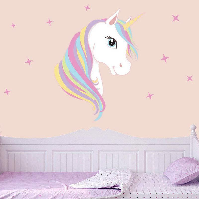 Wall Sticker Unicorn Stars Decals Girl Kids Room DIY Poster