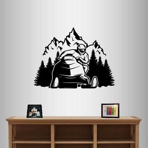 wall vinyl decal snowmobile mountains extreme sports