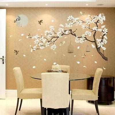 white blossom tree branch wall art stickers
