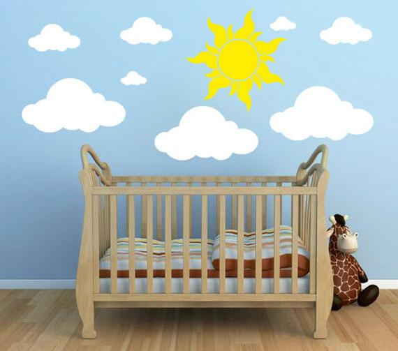white clouds 20 23 wall decals sun