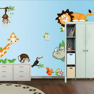 Wild Animal Mural Vinyl Wall Decals Sticker Kids Baby Nurser