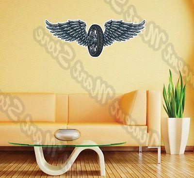 """Winged Wheel Wing Flying Fly Wall Sticker Interior Decor 25"""""""
