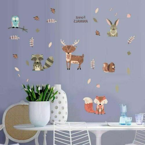 Woodland Forest Animals Decals Birds Deer Fox Vinyl Stickers Wall Art Decor