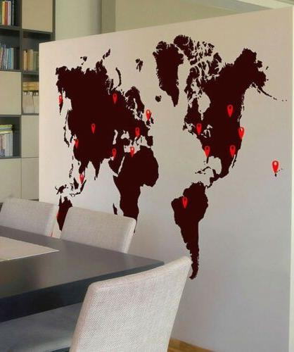 Stickerbrand World Map Vinyl Wall Decal with Location Pin Dr