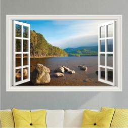 Lake Waterfront Mountain Scene Wall Decal Sticker Graphic Ar