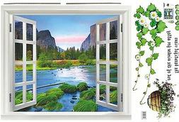 Large 3D window View adhesive texture mountain trees river W