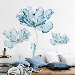 Large Blue Flower Wall Art Stickers Vinyl Decal Living Space